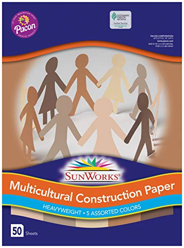 """Pacon SunWorks 9512 Multicultural Construction Paper, 12"""" x 18"""", 5 Assorted Colors, 50 Sheets"""