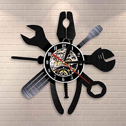 Reparación de automóviles Arte de la pared Servicio de coches Mecánico Garaje Salón Reloj de pared Estación de reparación de coche Señal mecánico vinilo Record reloj de pared regalo