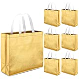 Whaline Set of 12 Glossy Reusable Grocery Bag, Tote Bag with Handle (Gold)