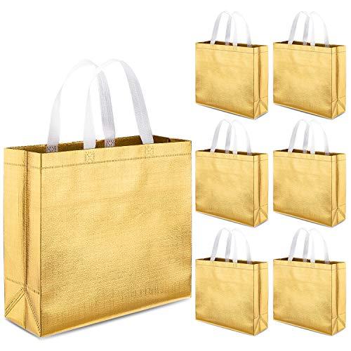 Whaline 12er Set Vliesstoff Einkaufstaschen, Easy Shopper, wiederverwendbare Lebensmittelbeutel Einkaufstasche, für Party, Einkaufen auch als Hochzeit Geburtstag Geschenktüte(Gold)