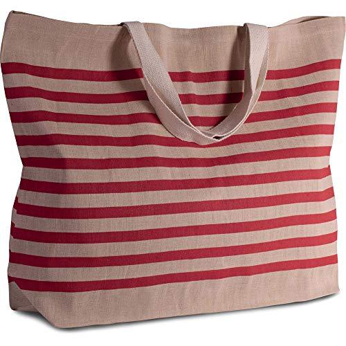 Grand sac de shopping en toile de jute en coton mélangé XXL et sac de shopping pour la plage, les loisirs, les courses ou le sport. Natural/Red, 72 x 48 x 15 cm, Volumen: ca. 52 L