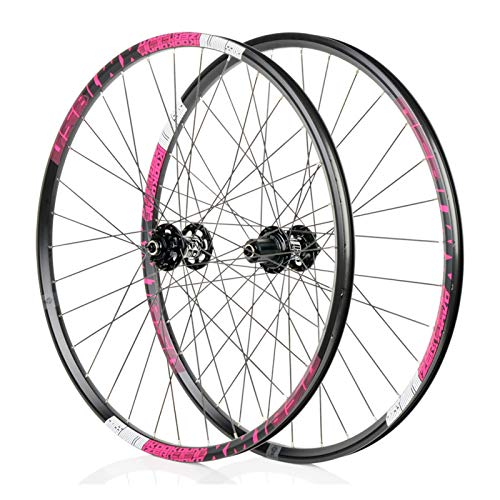 Mountain Bike 26/27.5 Inch Wheel, MTB Aluminum Alloy Wheel, 4D Drilling Process, Bearing F2/R4, 6-jaw 72click System, Suitable, Downhill Bicycle Wheel Parts (Black/Pink)