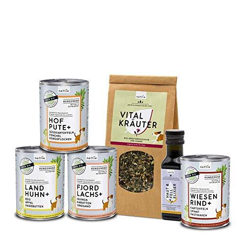 naftie Bio Hundefutter Schnupperbox Friendly | proteinreduziertes purinarmes Nassfutter Plus Bio-Öl und Bio-Kräutermischung | getreidefrei | nachhaltiges Futter aus Bayern