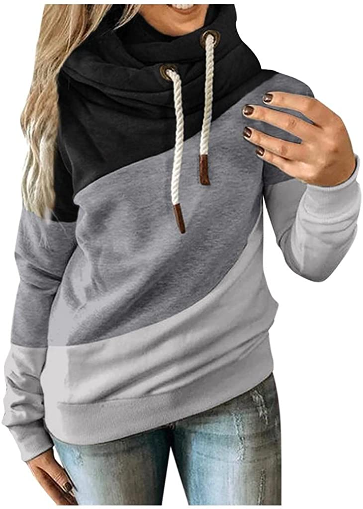 POLLYANNA KEONG BABAKE Womens Hoodies Plus Size Color Block Long Sleeve Sweatshirts Loose Casual Pullover Tops Blouse