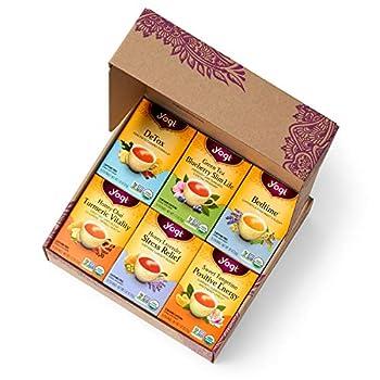 Yogi Tea - Yogi Favorites Variety Pack Gift Box  6 Pack  - DeTox Green Tea Blueberry Slim Life Bedtime Honey Chai Honey Lavender Stress Relief Sweet Tangerine Positive Energy - 96 Tea Bags