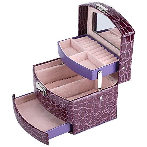 Wosune Almacenamiento de Joyas, Estuche Organizador púrpura, práctica y práctica Mano de Obra Fina portátil para Almacenamiento de Joyas Protección de Joyas para Mujeres
