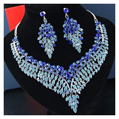 LPZW Pendientes de Cristal de Cristal de Color Caliente Collar de Moda Conjunto de joyería de Las señoras Europeas y Americanas (Color : B)