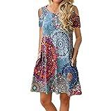 VEMOW Vestido Mujer Mujeres Verano Manga Corta Floral Bolsillos Impresos Vestido de oscilación Ocasional de Sundress(H Multicolor,M)