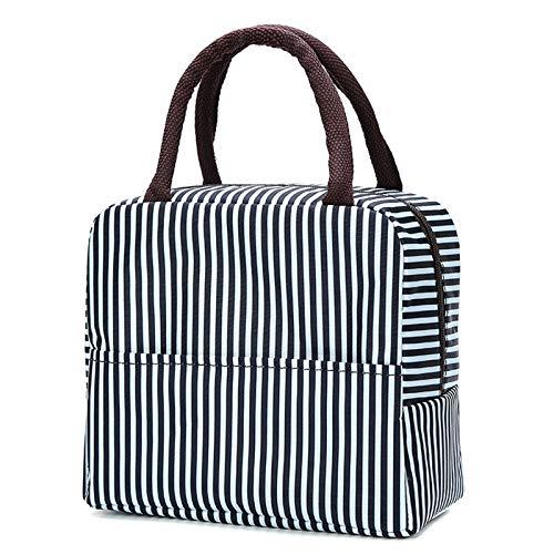 Bolsa de almuerzo aislada, resistente al agua, bolsa de almuerzo reutilizable con bolsillo portátil organizador de almacenamiento bolsa para trabajo al aire libre, picnic, viajes, color negro