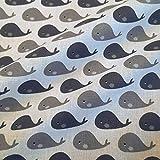 Stoff Meterware Baumwolle Wal weiß blau blau Walfisch