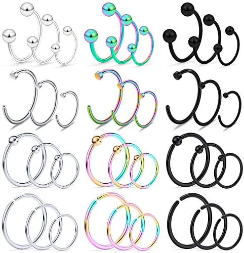Kridzisw 20G Nose Ring for Women Surgical Stainless Steel Septum Ring Septum Jrwelry Lip Ring product image