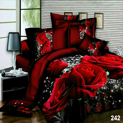 3D 4 Pieces Beautiful Printed Multi Designs Duvet/Quilt Cover Complete Bedding Sets (King, 242)