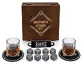 Whiskey Stones and Glass Set - 8 Granite Chilling Whisky Rocks – 2...