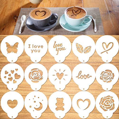 Qpout Kaffeeschablone, 15 Stück Latte Art Schablonen für Kaffee Dekorationen, Magnoloran Foam Barista Vorlagen für die Dekoration Cappuccino Mousse Heiße Schokolade Valentinstag Kaffee