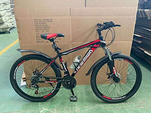 Newmiwa 26' Wheel Mountain Bike for Adults, Front and Rear Disc Brakes, Front Suspension, 21 Speed, Red Color