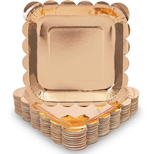 Rose Gold Square Paper Plates with Scalloped Edge (18 cm, 48 Pack)