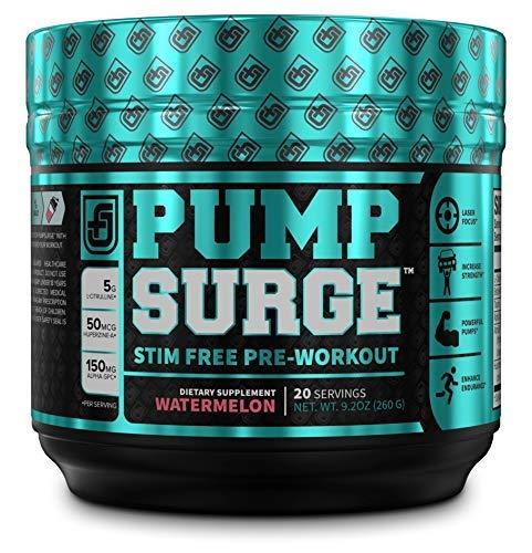 PUMPSURGE Caffeine Free Pump & Nootropic Pre Workout Supplement, Non Stimulant Preworkout Powder & Nitric Oxide Booster,20 Servings, Watermelon, 9.2 OZ