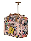Lily Bloom Designer 15 Inch Carry On - Weekender Overnight Business Travel Luggage - Lightweight 2- Rolling Wheels Suitcase - Under Seat Rolling Bag for Women (Trop Pineapple)