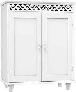 Tangkula Floor Bathroom Cabinet, Bathroom Storage Cabinet, Wooden Modern Home Bathroom Storage Organizer, Free Standing Storage Cabinet Furniture (White)