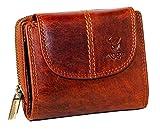 MATADOR Echt Leder Damen Portemonnaie RFID Schutz 12 Fächer Vintage Braun Frauen Geldbörse