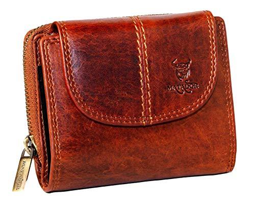 MATADOR Echt Leder Damen Portemonnaie mit TÜV Geprüfter RFID/NFC Schutz 12 Fächer Vintage Braun Frauen Geldbörse