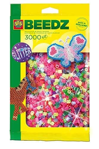 SES Creative 00774 Bügelperlen 3000 Stück Glitzer Sicherungsperle, Mehrfarbig