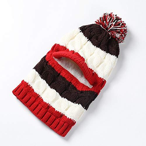 JXFM Twist wollen muts winter vrouwelijke gebreide trui cap fiets gehoorbescherming warm masker kap winddicht verdikking kraag cap rood plus wit