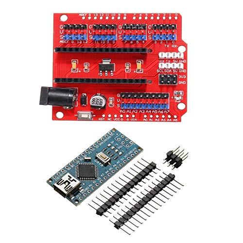 For Arduino - Produkte, die Arbeit mit den offiziellen Boards, Funduino Nano Expansion Board + ATmega328P Nano V3 Kein Schweiß Für das Arduino-Kit.