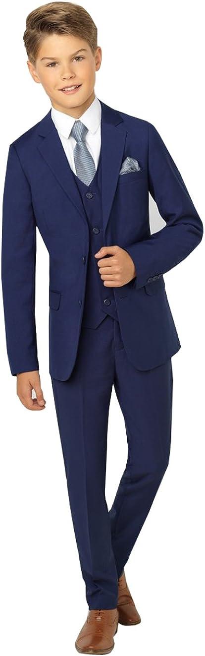 yeoyaw Boys Navy Blue Flromal Slim Fit 3pcs Jacket Vest Pants Classic Tuxedo Suits Wedding Party Ceremony