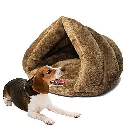 Tuzi Qiuge Hund Sofa verdicken mongolische Yurt Haustierhunde Katzen Haus Dreieckige Katze Kennel warm (Color : Brown)