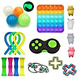 VANREYIN Sensory Toys Set, Relieves Stress and Anxiety Fidget Toy for Children Adults, Special Toys Assortment for Birthday Party Favors (Black)
