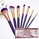 Maquillaje juego de brochas 7 Piezas de maquillaje profesional pincel de alta calidad Cabaret Uki brocha rubor sombra de ojos lápiz de cejas y Labios Brush (Color : Purple)