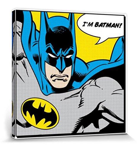 1art1 Batman - I'm Batman, Bocadillo Cuadro, Lienzo Montado sobre Bastidor (40 x 40cm)