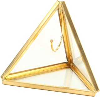 Koyal Wholesale Geometric Glass Ring Box, Gold Triangular Pyramid Ring Holder, Wedding Ring Bearer Glass Gift Box, Keepsake Wedding Ring Holder, Proposal Box, Jewelry Box, Ring Display Case