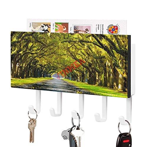 VinMea Väggmonterad nyckelkrok ekträd som bildar en baldakin ovanför södra vägen dekorativ nyckelförvaringshylla med 5 nyckelkrokar för förentré, vardagsrum, hall, kök, garage, lera, kontor