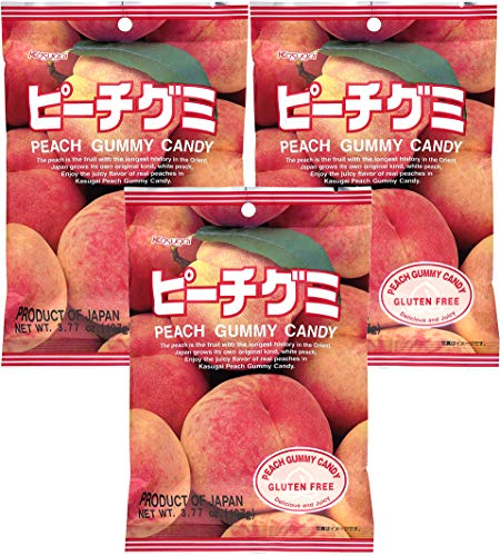 Kasugai Peach Gummy Candy 3.77oz (3 Pack)