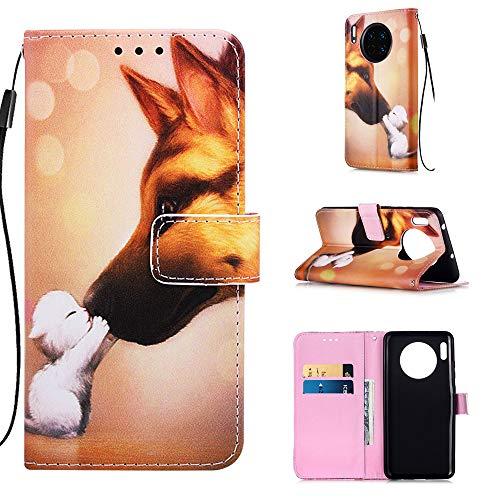 nincyee Wallet Case voor Huawei Mate 30, kleur kat geschilderd Premium lederen Flip Cover Case voor Huawei Mate 30, for Huawei Mate 30, Hond Kus