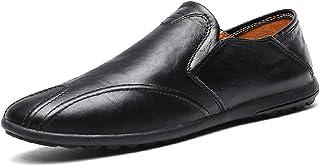 Ranipobo Men Boat Moccasins Slip On Style PU Leather Simple Pure Color British for Men (Color : Black, Size : 7.5 UK)