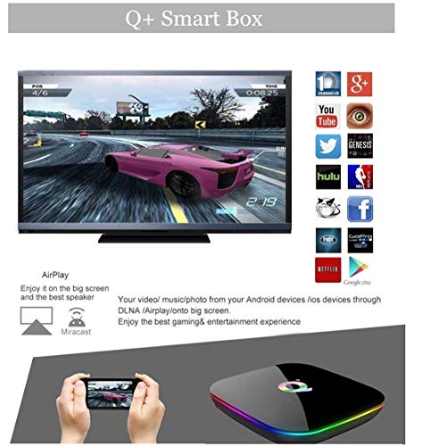 DeWEISN Android 9.0 TV Box, Q Plus Smart Box 4GB RAM 64GB ROM H6 Quad-Core cortex-A53 Mali T720 GPU Reproductor Multimedia 2.4GHz WiFi 6K H.265 100M Enternet con USB 3.0 Caja de Televisor miniatura