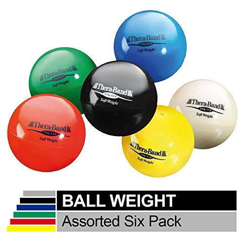 TheraBand Soft Weight, 4.5' Diameter Hand Held Ball Shaped Isotonic Weighted Ball for Isometric Workouts, Strength Training & Rehab Exercises, Shoulder Strengthening, Set of 6 Assorted Weights