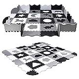 Unterlegmatte Spielmatte Puzzlematte Eva 52-TLG Puzzle Spielteppich Kinderteppich Schutzmatte Kinderspielteppich Schaumstoffmatte Boden Schutz SK-33 Mono