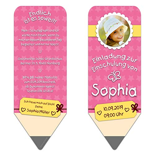 10 x Lasergeschnittene Einschulung Einladungskarten Schulanfang individuell Einladungen - Bleistift Rosa