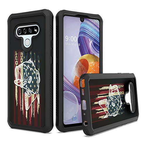 Moriko Case Compatible with Stylo 6 [Cute Drop Proof Shockproof Women Men Hybrid Heavy Duty Black Case Phone Cover] for LG Stylo 6 Spectrum and All Phone Carriers (Fishing USA Bass)