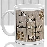 N\A Regalo novedoso Taza de café Blanco de 11 oz American Pit Bull Terrier Taza para Perros American Pit Bull Terrier Taza Regalo para Amantes de los Perros Oficina en casa Taza de té
