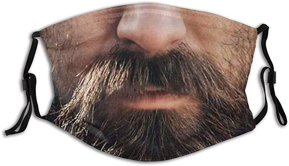 Stylish Funny Beard Adjustable Washable Balaclavas Face Mask for Adult Teens with 2 Filters