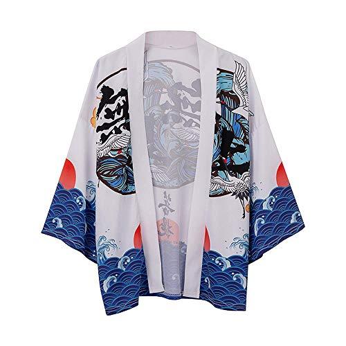 Yicaler Herren Kimono Strickjacke T-Shirt Mantel Pyjamas Bademantel Taoist Robe Ukiyo-E Supreme Bodhi Chinesischer Stil Seven-Sleeve Taoist Robe Cloak Jacket White-Medium