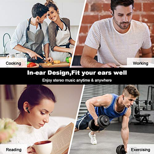 Wireless Earbuds,Bluetooth Earbuds Wireless Earphones Stereo Wireless Earbuds with Microphone/Charging Case Bluetooth in Ear Earphones Sports Earpieces Compatible iOS Samsung Android Phones Black 3