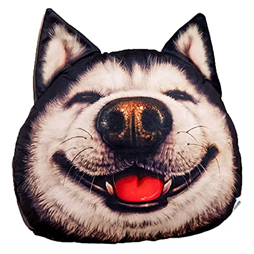 SUNSER Almohada De Juguete De Peluche Erha, Forma Husky, Almohada De La Cabeza del Perro De Simulación 3D, con Manta, Decoración del Hogar,Laughing out Loud