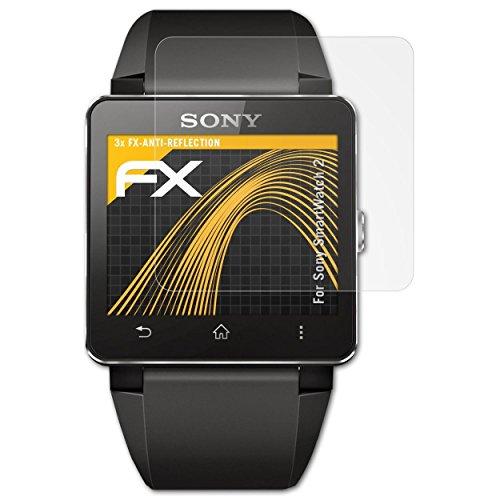 atFoliX Panzerfolie kompatibel mit Sony SmartWatch 2 Schutzfolie, entspiegelnde & stoßdämpfende FX Folie (3X)