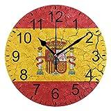 SENNSEE Reloj de pared abstracto con la bandera de España decorativo para sala de estar, dormitorio, cocina, funciona con pilas, para decoración del hogar
